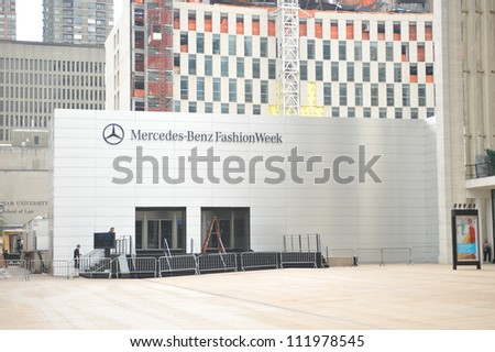 NEW YORK, NY - SEPTEMBER 04 :  A front entrance at tents during Mercedes-Benz Fashion Week at Lincoln Center on September 04, 2012 in New York City.