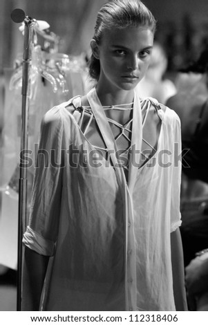 NEW YORK, NY - SEPTEMBER 6: A model waits backstage during theKimberly Ovitz  Spring Summer 2013 runway fashion show during Mercedes-Benz Fashion Week on September 6, 2012 in New York City, USA