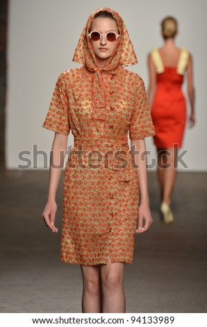 NEW YORK, NY - SEPTEMBER 12: A model walks the runway at the Alexandre Herchcovitch Spring 2012 fashion show during Mercedes-Benz Fashion Week at EYEBEAM on September 12, 2011 in New York City.