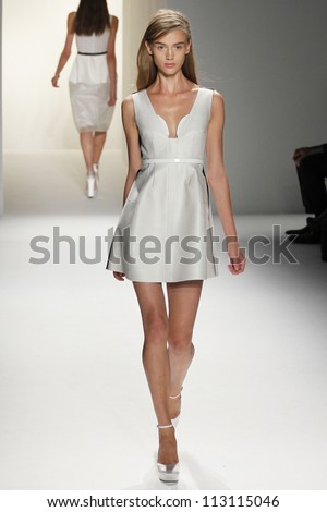 NEW YORK, NY - SEPTEMBER 13: A model walks the runway during Calvin Klein Spring Summer 2013 collection presentation during Mercedes Benz Fashion Week on September 13, 2012 in New York City, USA - stock photo