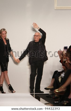 NEW YORK, NY - SEPTEMBER 13: Designers Lubov Azria (L) and Max Azria walk the runway at the Herve Leger  S/S 2012 fashion show during Mercedes-Benz Fashion Week on September 13, 2011 in NYC.