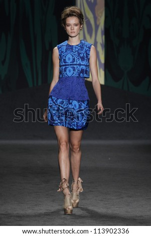 NEW YORK, NY - SEPTEMBER 11: Model Jac walks the runway at the Vera Wang SS2013 fashion show during Mercedes-Benz Fashion Week in Lincoln Center on September 11, 2012 in New York City, USA