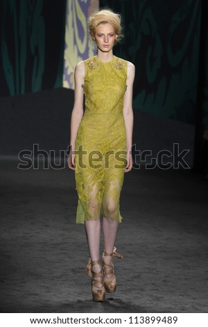 NEW YORK, NY - SEPTEMBER 11: Model Julia Nobis walks the runway at the Vera Wang SS2013 fashion show during Mercedes-Benz Fashion Week in Lincoln Center on September 11, 2012 in New York City, USA