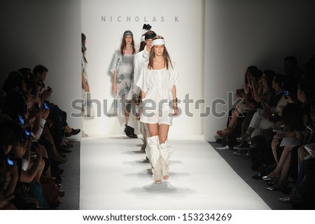 NEW YORK, NY - SEPTEMBER 05: Models walk the runway finale at the Nicholas K show during Spring 2014 Mercedes-Benz Fashion Week at The Studio at Lincoln Center on September 5, 2013 in New York City.