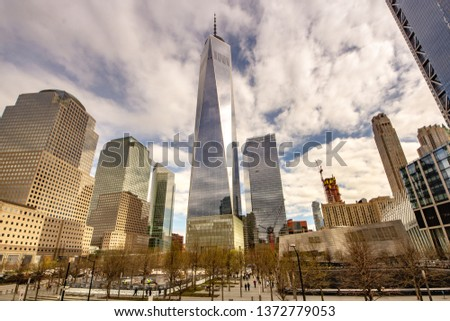 New York, NY / United States - April 17, 2019; Landscape view of the World Trade Center in lower Manhattan #1372779053