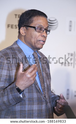 New York, NY, USA - April 19, 2014: Jazz musician Herbie Hancock attends the premiere of \'Keep On Keepin\' On\' during the 2014 Tribeca Film Festival at BMCC Tribeca PAC, Manhattan