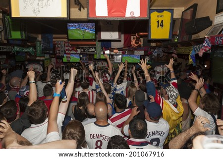 New York, NY USA - JUNE 26: Atmosphere during group match between USA and Germany in World Cup inside Legends sport bar both teams advanced to second round of World Cup