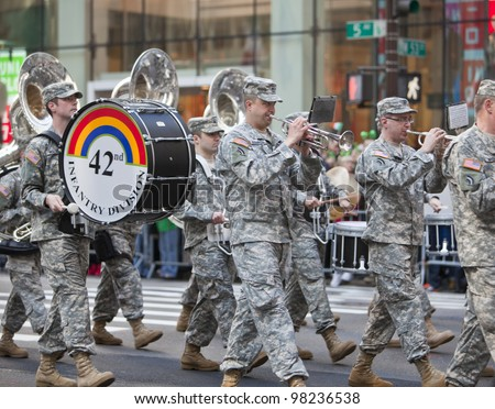 NEW YORK, NY, USA MAR 17: Marching US Army band of the 42nd Division at the St. Patrick's Day Parade on March 17, 2012 in New York City, United States.