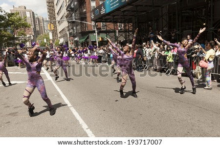 New York, NY USA - May 17, 2014: Something Untouchable Dance Company performs on 8th annual dance parade on Broadway