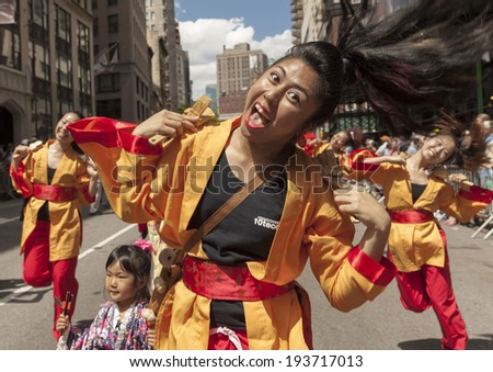 New York, NY USA - May 17, 2014: Yosakai Dance Project 10tecomai performs on 8th annual dance parade on Broadway