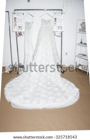 New York, NY, USA - October 8, 2015: A wedding dress prepared on backstage for Marchesa Fall/Winter 2016 Bridal Presentation at Canoe Studio, Manhattan