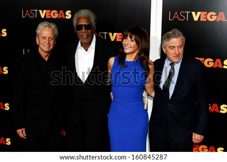"NEW YORK- OCT 29:  Michael Douglas (L) and cast attend the premiere of ""Last Vegas"" at the Ziegfeld Theatre on October 29, 2013 in New York City."