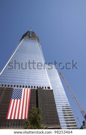 NEW YORK – OCT 8: Progress on rebuilding the World Trade Center, which was destroyed in the 9/11 attacks, continues on October 8, 2011 in New York City.  One WTC will be known as The Freedom Tower.