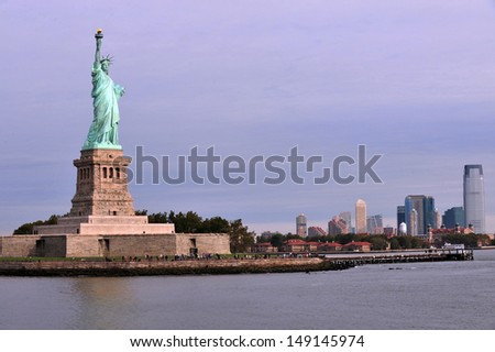 NEW YORK - OCT 15: Statue of liberty on Oct 15 2010.After 9/11 attacks it was closed.In 2004 the pedestal reopened and the statue in 2009 with limits on number of visitors allowed ascend to the crown.