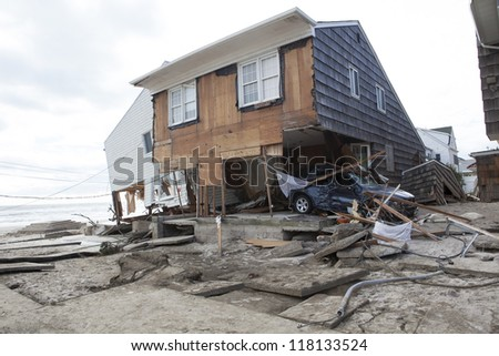 NEW YORK - October 31:Destroyed homes in  Far Rockaway after Hurricane Sandy October 29, 2012 in New York City, NY