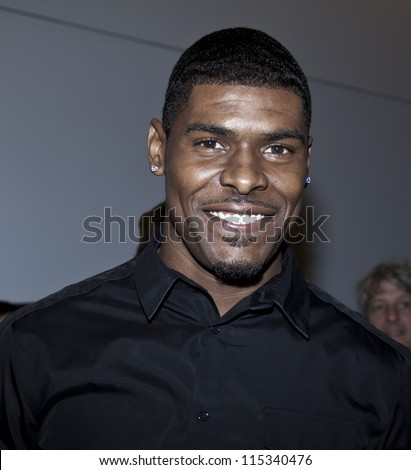 NEW YORK - OCTOBER 11: Football player Ramses Barden of New York Giants attends opening Miguel Antoinne store and runway show in SOHO on October 11, 2012 in New York City