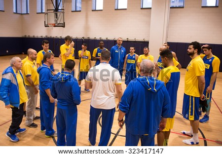 NEW YORK - October 3: Maccabi FOX Tel-Aviv\'s players and coaches seen in a pre-season team practice in JCC Manhattan, New York on October 3, 2015.