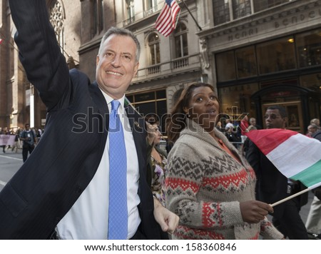 NEW YORK - OCTOBER 14: Mayoral candidate Bill de Blasio attends annual Columbus Day Parade on 5th Avenue on October 14, 2013 in New York City