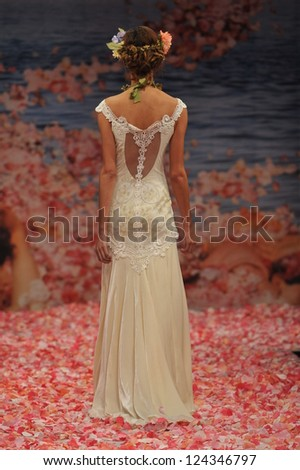 NEW YORK- OCTOBER 14: Model walks runway for Claire Pettibone bridal show for Fall 2013 during NY Bridal Fashion Week on October 14, 2012 in New York City, NY