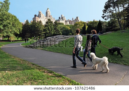 NEW YORK - OCTOBER 10: New Yorkers walks their dogs in Central Park on October 10 2009 in Manhattan New York. The park initially opened in 1857, on 843 acres (3.41 km2) of city-owned land.
