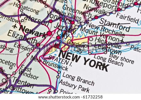 New York on a map closeup