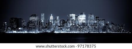 New York - Panoramic view of Manhattan Skyline by night #97178375