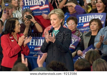 New York Senator Hillary Rodham clapping during a presidential campaign rally in February, 2008.  New Mexico