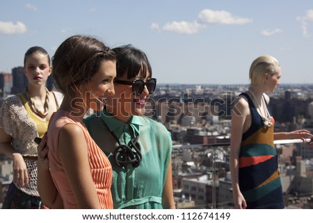 NEW YORK - SEPT 10: Actress India De Beaufort and Ann Yee at the ANN YEE Spring/Summer 2013 collection presentation during Mercedes-Benz Fashion Week in New York on September 10, 2012. - stock photo
