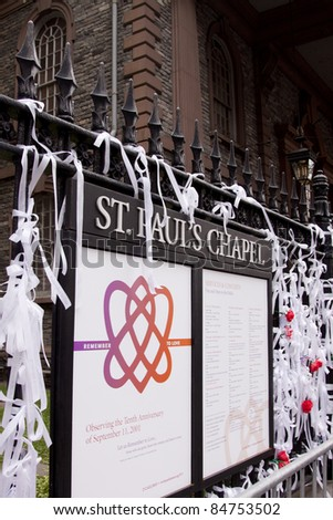 NEW YORK - SEPT 11: 'Ribbons of Remembrance' tied to the iron fence at St Paul's Chapel near Ground Zero on the 10th anniversary of the 9/11 terrorist attacks on September 11, 2011 in New York. - stock photo