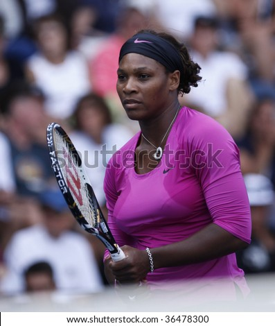 NEW YORK - SEPT 3: Serena Williams of USA waits for the ball during 1st round doubles match against Julia Goerges of Germany and Arantxa Santonja of Spain at US Open on September 3, 2009 in New York.