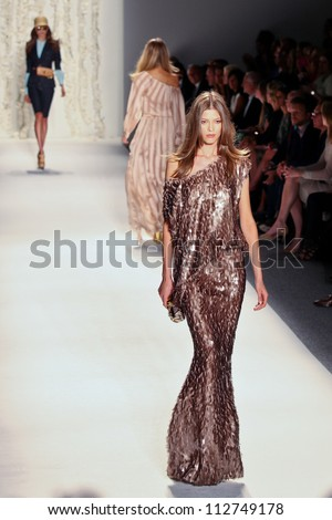 NEW YORK - SEPTEMBER 12:A model walks the runway at the RACHEL ZOE Spring/Summer 2013 collection Mercedes-Benz Fashion Week in New York on September 12,2012 - stock photo