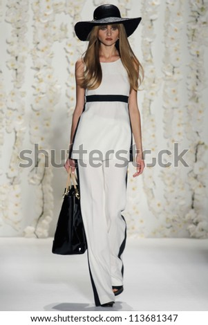 NEW YORK - SEPTEMBER 12:A model walks the runway at the RACHEL ZOE Spring/Summer 2013 collection Mercedes-Benz Fashion Week in New York on September 12, 2012