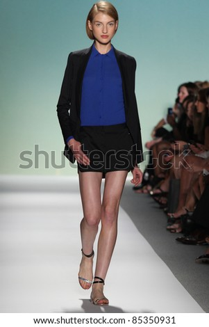 NEW YORK - SEPTEMBER 13: A model walks the runway at the TIBI S/S 2012 collection presentation during Mercedes-Benz Fashion Week on September 13, 2011 in New York - stock photo