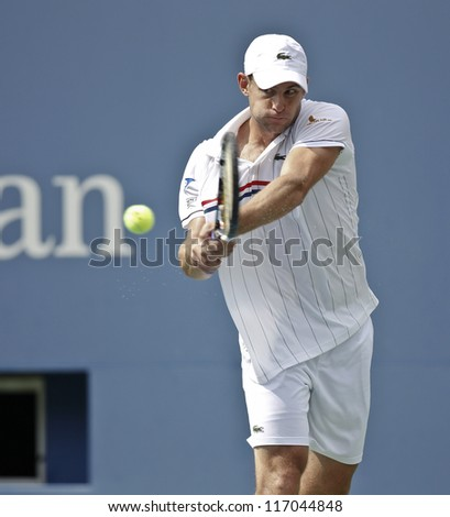 NEW YORK - SEPTEMBER 2: Andy Roddick of USA returns ball during 4th round match against Fabio Fognini of Italy at US Open tennis tournament on September 2, 2012 in Flushing Meadows New York
