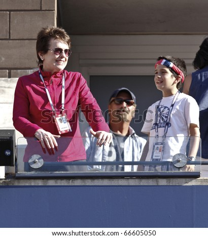 NEW YORK - SEPTEMBER 06: Billie Jean King attends match between Caroline Wozniacki of Denmark and Maria Sharapova of Russia at US Open Tennis Championship on September 06, 2010 in New York, City.