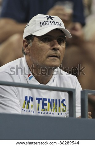 NEW YORK - SEPTEMBER 12: Coach Toni Nadal attends final match between Novak Djokovic of Serbia and Rafael Nadal of Spain at USTA Billie Jean King National Tennis Center on September 12, 2011 in NYC