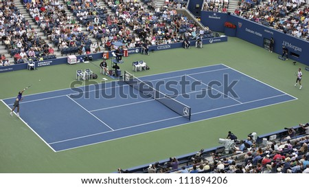 NEW YORK - SEPTEMBER 3: Court view during 4th round match between Marin Cilic of Croatia & Martin Klizan of Slovakia at US Open tennis tournament on September 3, 2012 in Flashing Meadows New York