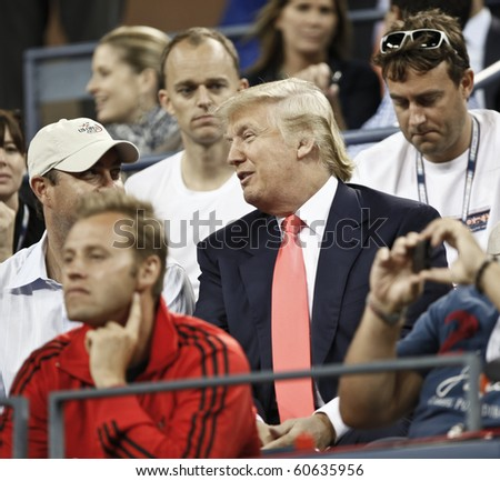 NEW YORK - SEPTEMBER 08: Donald Trump attends quarterfinal match between Caroline Wozniacki of Denmark and Dominika Cibukova of Slovakia at US Open tennis tournament on September 08, 2010, New York
