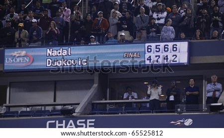 NEW YORK - SEPTEMBER 13: Final score of the match of US Open Tennis Championship between Rafael Nadal and  Novak Djokovic of Serbia on September 13, 2010 in New York, City.