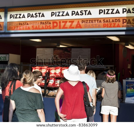 NEW YORK - SEPTEMBER 01: Food court with pizza at US Open at USTA Billie Jean King National Tennis Center on September 01, 2011 in New York City.
