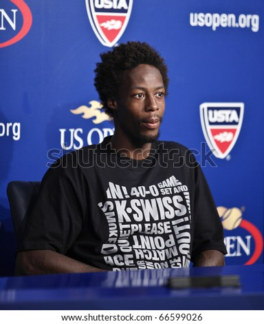 NEW YORK - SEPTEMBER 06: Gael Monfils of France attends press conference after match against Richard Gasquet of France at US Open Tennis Championship on September 06, 2010 in New York, City. - stock photo