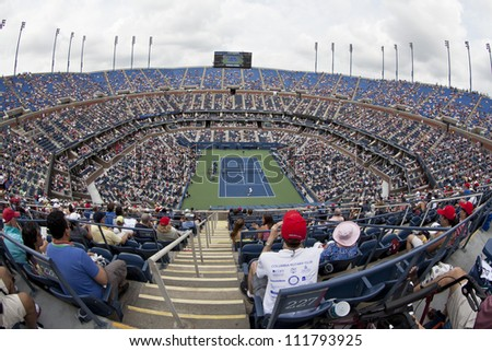 NEW YORK - SEPTEMBER 2: General view of Arthur Ash stadium during 4th round match between Novak Djokovic of Serbia and Julien Benneteau of France at US Open tennis tournament on Sep 2, 2012 in NYC