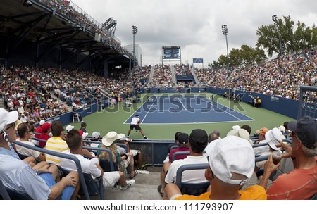 NEW YORK - SEPTEMBER 2: General view of Grandstand court during 4th round match between Juan Martin Del Porto of Argentina & Leonardo Mayer at US Open tennis tournament on September 2, 2012 in NYC