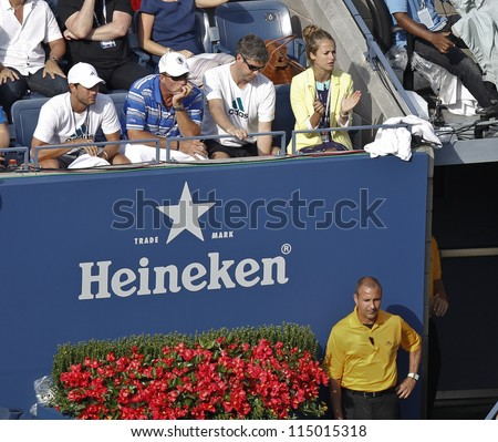 NEW YORK - SEPTEMBER 08: Ivan Lendl & Kim Sears attend semifinal match between Andy Murray of United Kingdom & Tomas Berdych of Czech Republic at US Open tennis on September 08, 2012 in New York City