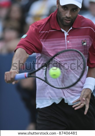NEW YORK - SEPTEMBER 02: James Blake of USA returns ball during 2nd round match against David Ferrer of Spain at USTA Billie Jean King National Tennis Center on September 02, 2011 in New York City
