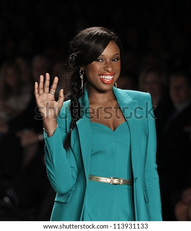 NEW YORK - SEPTEMBER 07: Jennifer Hudson walks the runway for Project Runway Collection during Spring/Summer 2013 at Mercedes-Benz Fashion Week on September 07, 2012 in New York