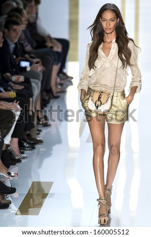 NEW YORK SEPTEMBER 08 Joan Smalls is walking the runaway at Diane Von Furstenberg Collection for Spring Summer 2014 fashion show during Mercedes-Benz Fashion Week on SEPTMEBR 08 2013 in New York
