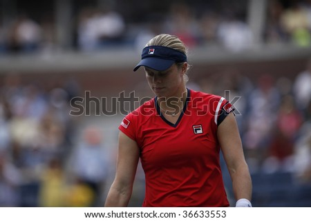 NEW YORK - SEPTEMBER 6: Kim Clijsters of Belgium reacts during 3rd round match against Venus Williams of USA at US Open on September 6, 2009 in New York.