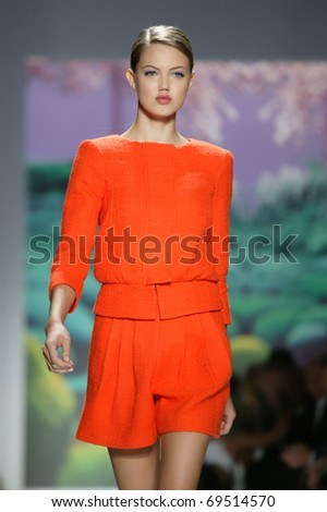 NEW YORK - SEPTEMBER 14: Lindsey Wixson walks the runway at the TIBI  Collection presentation for Spring/Summer 2011 during Mercedes-Benz Fashion Week on September 14, 2010 in New York.