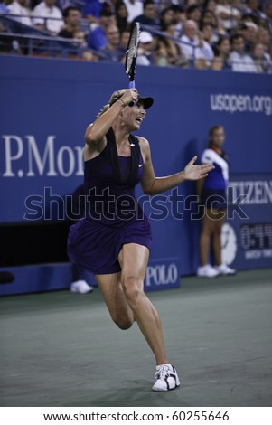 NEW YORK - SEPTEMBER 02: Maria Sharapova of Russia celebrates point during second round match against Iveta Benesova of Czech Republic at US Open tennis tournament on September 02, 2010, New York.